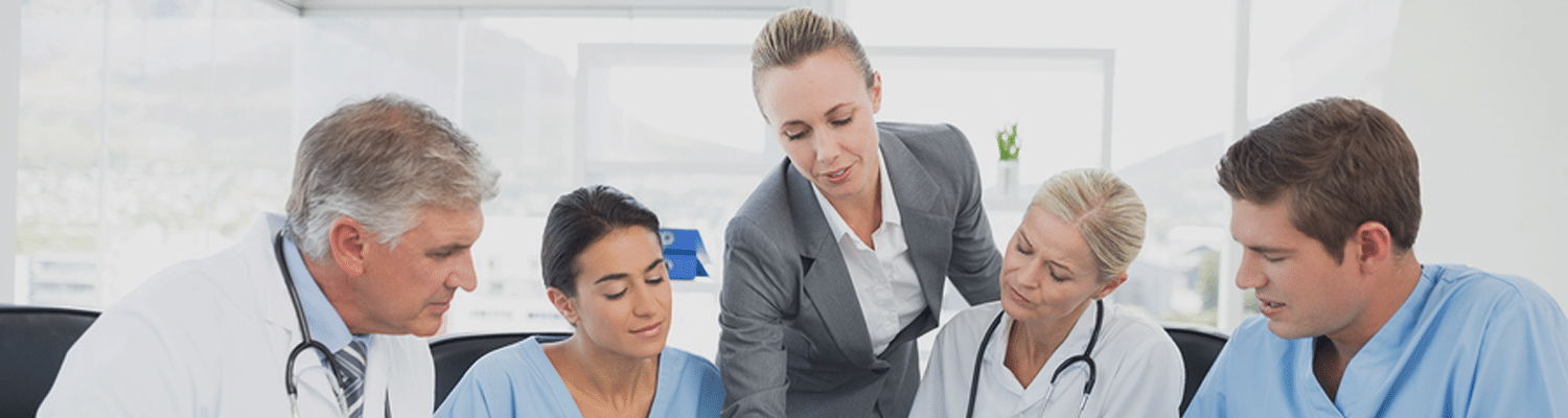 business woman presenting to medical providers