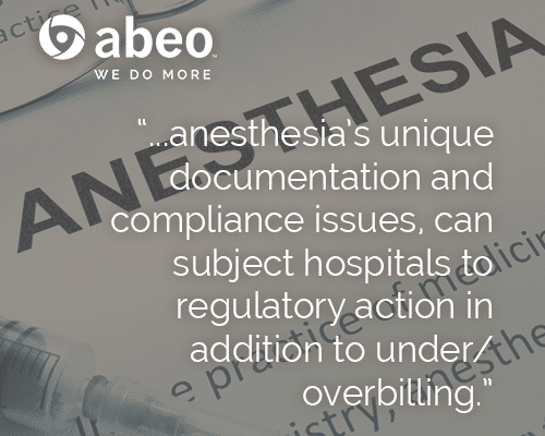 sources of compliance issues in hospital billing foranesthesia