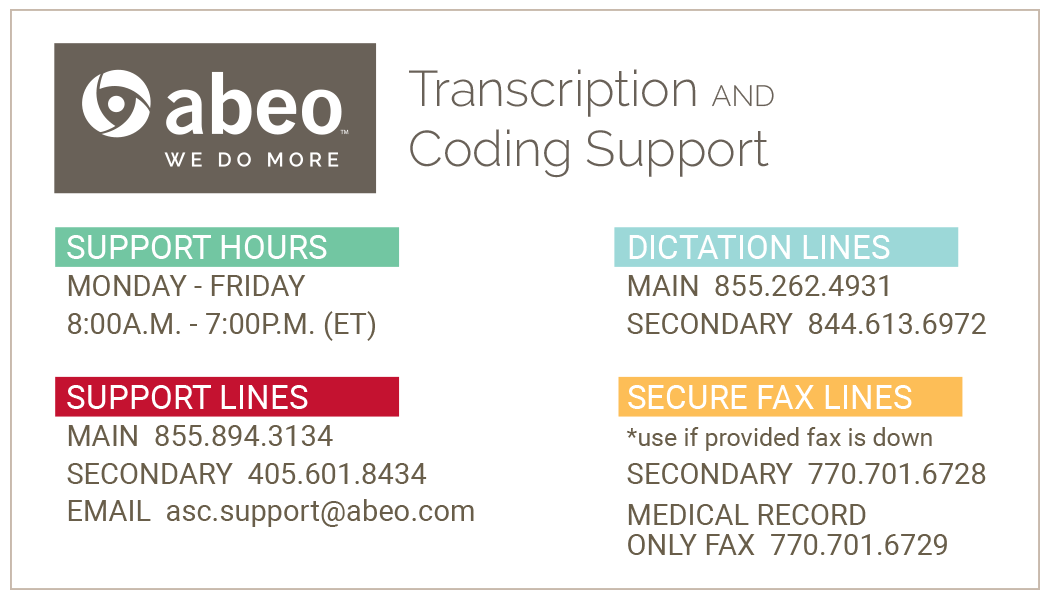 abeo client support reference card